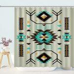Ethnic Illustration of a Zigzags Design Triangular Iconic Artwork Motifs Bath Curtain