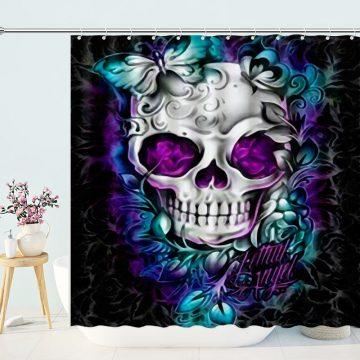 Full Drill Sugar Flower Skull Shower Curtain