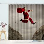 Funny Santa Claus Christmas Shower Curtain