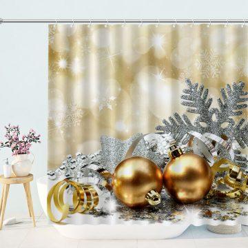Glittering Christmas Balls Shower Curtain