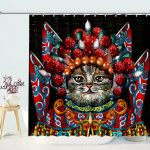 Impression Oil Painting Cat Drama Shower Curtain
