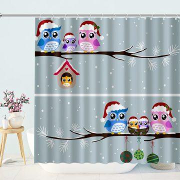 Little Birds Christmas Shower Curtain