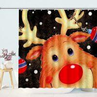 Merry-Christmas-Reindeer-Santa-Shower-Curtain-1