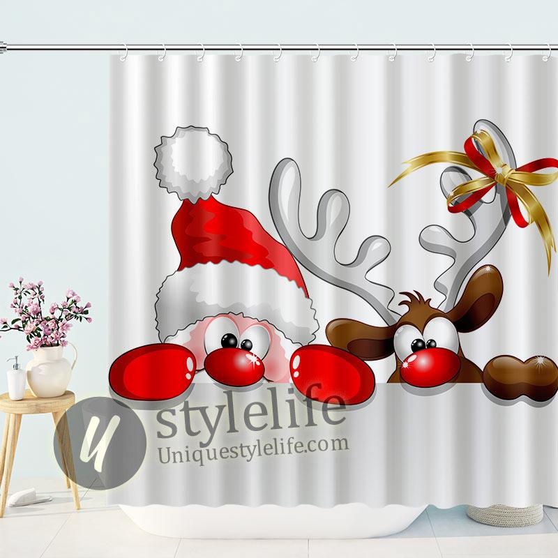 Merry Christmas Reindeer Santa Shower Curtain