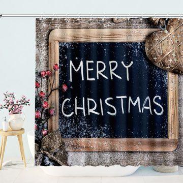 Merry Christmas Written On A Wooden Chalkboard Shower Curtains