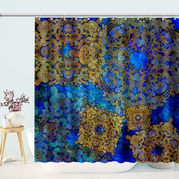 Moroccan Oriental Floral Stall Shower Curtain