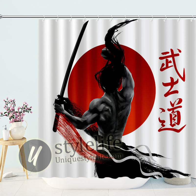 Muscular Samurai Figures with Bushido Word Japanese Shower Curtain