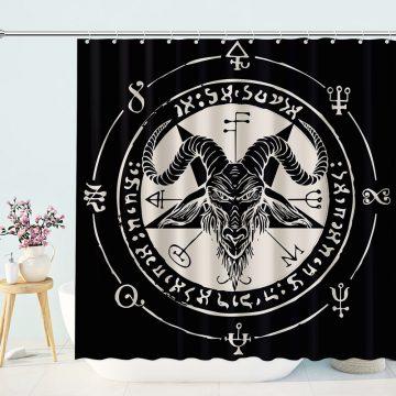 Occult Goat Head Pentagram Gothic Devil Baphomet Shower Curtains