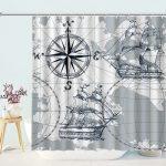 Panel Grey Boat Sketch Nautical Sailboat Map Shower Curtain