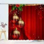 Red Background Christmas Decorative Shower Curtain