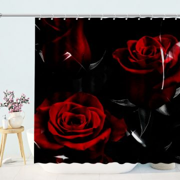 Red Rose Floral Shower Curtain