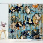 Samurai Frogs by Utagawa Kuniyoshi Shower Curtain