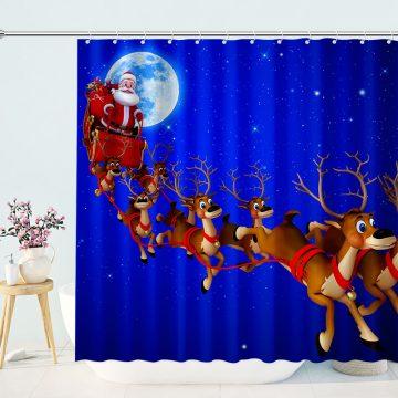 Santa And Reindeer Christmas Shower Curtain