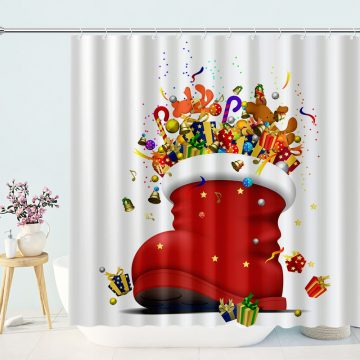 Santa Red Boots Are Filled With Christmas Gifts Shower Curtain