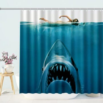 Shark Under Swimming Women Shower Curtain