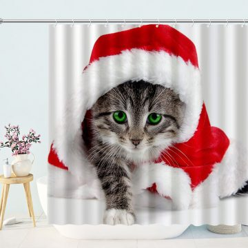 Tabby Cat Wearing Christmas Hat Shower Curtain