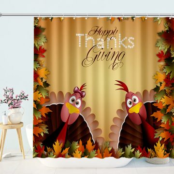 Thanks Giving Fall Theme Shower Curtain