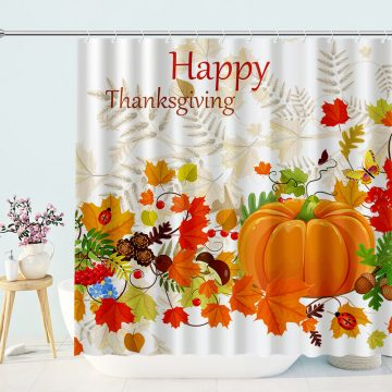 Thanks Giving Pumpkin Shower Curtain