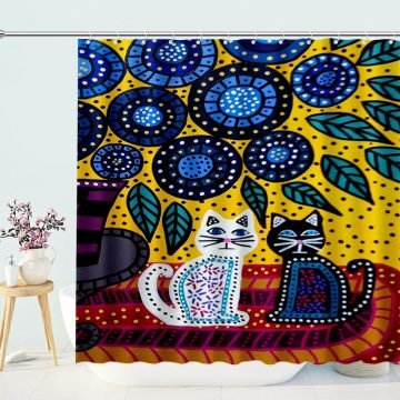 Two Cat Blue Ceramic Gond Art Hand Painted Bath Curtian