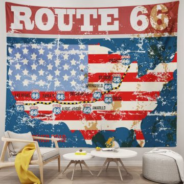 American Flag Route 66 Map Vintage Tapestry