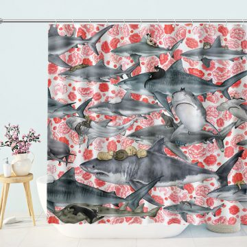 Funny Shower Curtain Cat Riding Shark