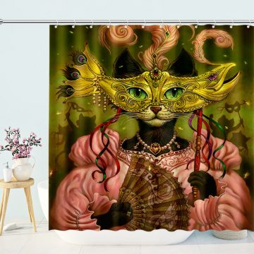 Funny Shower Curtain Mask Cat Lady