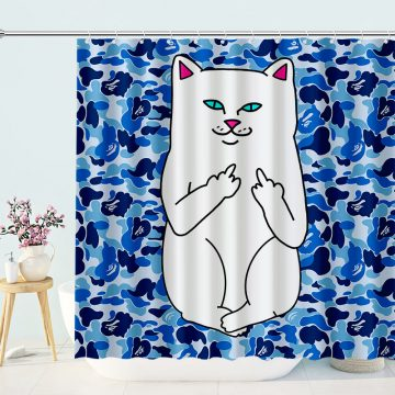 Funny Shower Curtain Middle Finger Cat