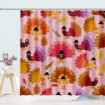 Funny Turkey Thanksgiving Shower Curtain