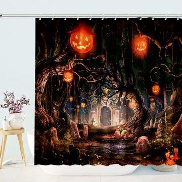 Halloween Shower Curtain Pumpkin Valley Lantern