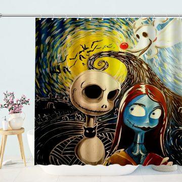 Jack And Sally Cartoon Shower Curtain