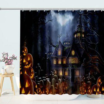 Pumpkin Lantern Invasion Castle Cartoon Shower Curtain