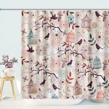 Birdcage Leaves Garden Themed Shower Curtain