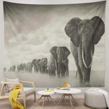 African Elephant 3d Black White Tapestry