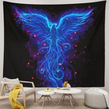 Blue Luminous Phoenix Trippy Tapestry Wall Hanging