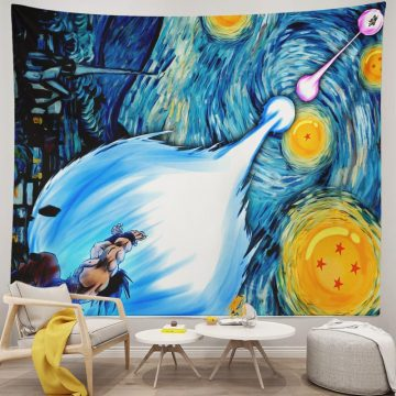 Goku vs Vegeta Tapestry Van Gogh Starry Night