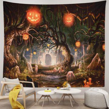 Halloween Tapestry Pumpkin Lantern Horror Forest